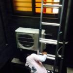 エアコン室外機 壁面工事1